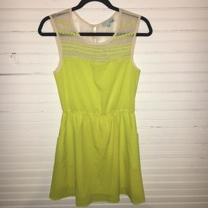 NEON COLOR DRESS W/ SHEER TOP. SIZE SML